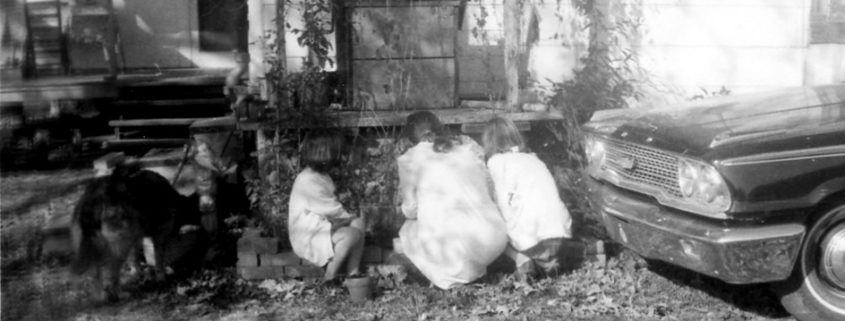 Willia Mae Broome and her granddaughters. 1971. Wayside Road, Rome, Ga.
